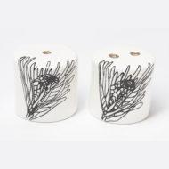 Ceramic Salt and Pepper Shakers - Protea Flower