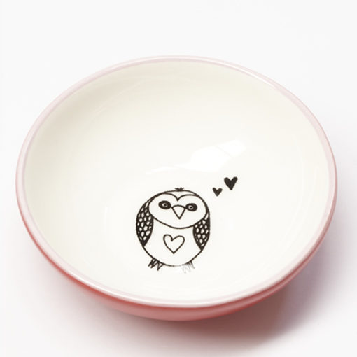 ceramic owl love small bowl