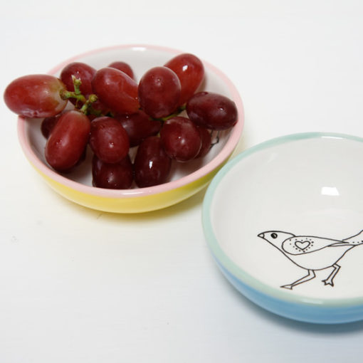 small bowls - one with grapes