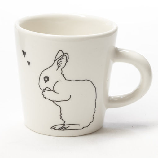 Ceramic Coffee Cup - Hearts Bunny
