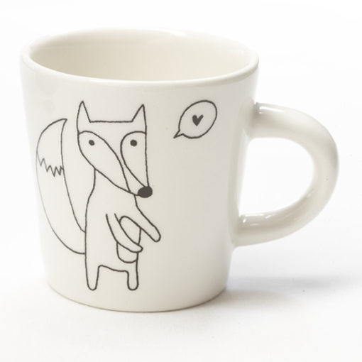 Ceramic Coffee Cup - Heart Fox