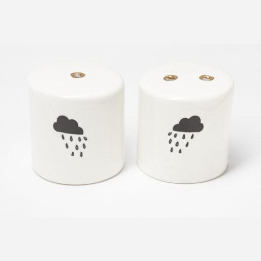 Ceramic Salt and Pepper Shakers - Rain Clouds