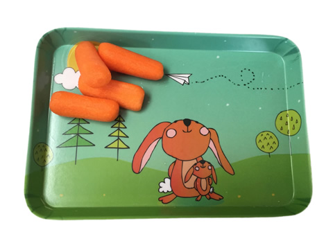 printed melamine snack tray with bunnies