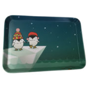 printed melamine snack tray - penguins