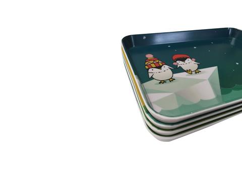 printed melamine snack tray - penguins