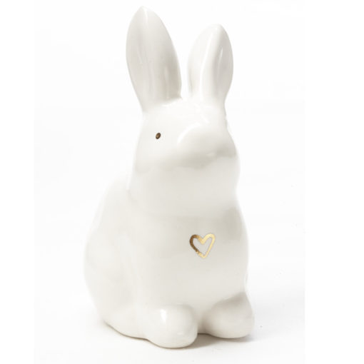 Ceramic Easter Bunny with heart of Gold