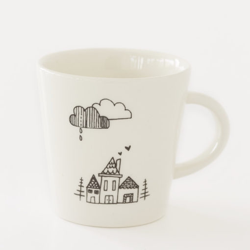 small house illustration ceramic coffee cup