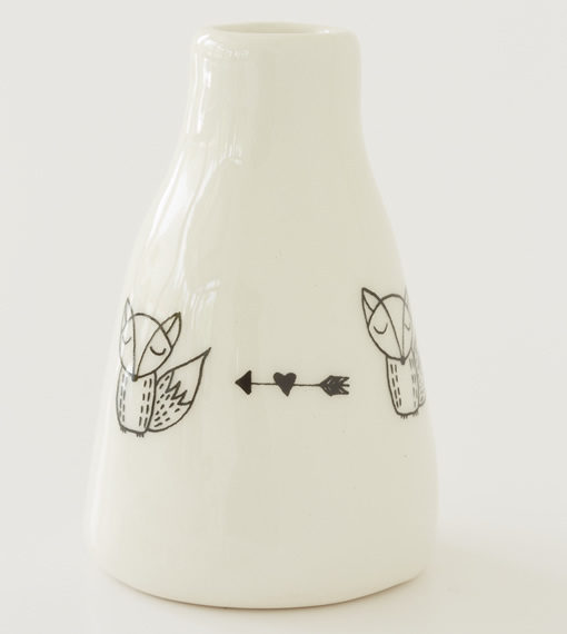 Short Vase - Foxes with arrow and heart
