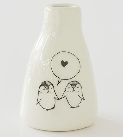 Short Vase – Love Penguins