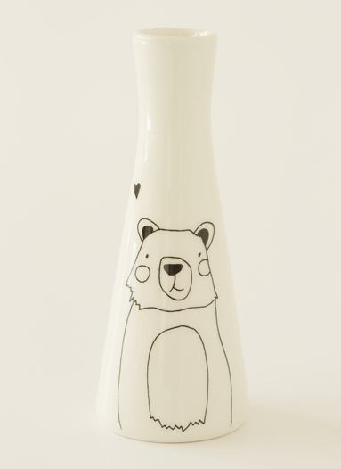 Tall Vase with Illustrations of a cute bear