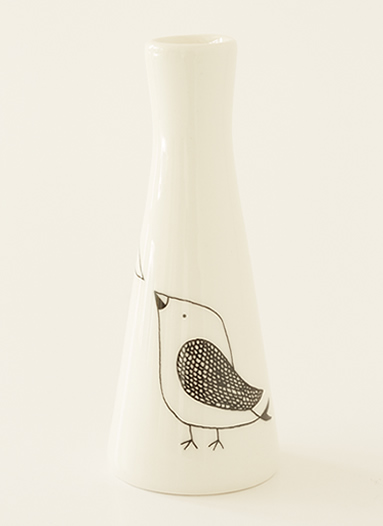 Tall Vase with Illustrations of a cute bird.