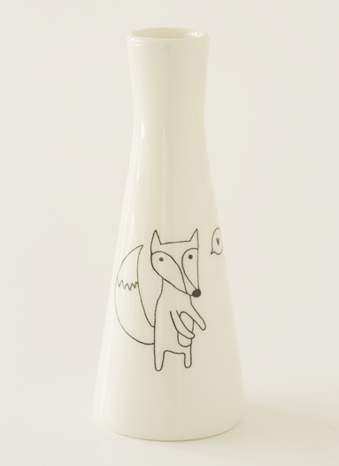Tall Vase with Illustrations of a cute fox