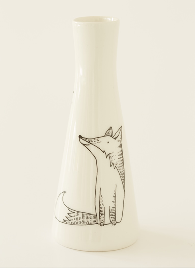 Tall Vase with Illustrations of a cute, happy fox