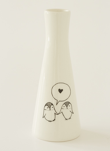 Tall Vase with Illustrations of Penguins