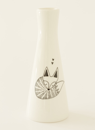 Tall Vase with Illustrations of a slumbering fox