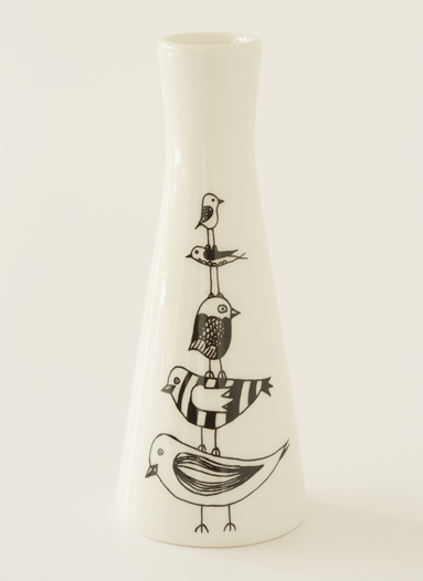Tall Vase with Illustrations of a cute stack of birds