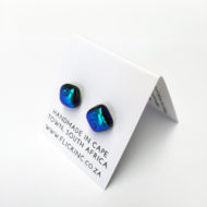 Dichroic Glass Earrings - Blue swirl pattern
