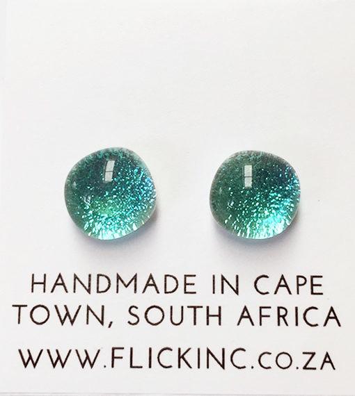 Dichroic Glass Earrings Aquamarine