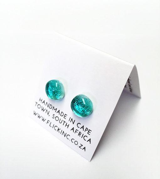 Dichroic Glass Earrings on model