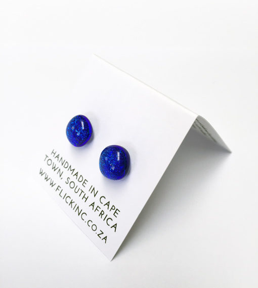 dichroic glass earrings by flickglass - deep blue