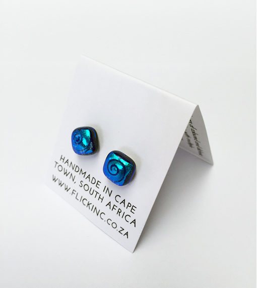 Dichroic Glass Earrings - Mandelbrot PAttern