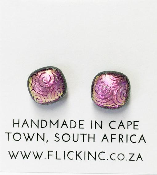 Dichroic Glass Earrings Cosmic Pink