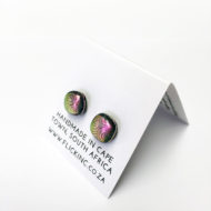 Dichroic Glass Earrings Cosmic Pink