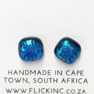 Dichroic Glass Earrings Dark Blue with Light Swirls