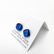 Dichroic Glass Earrings Dark Blue with Light Swirls