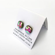Dichroic Glass Earrings Pink Fun