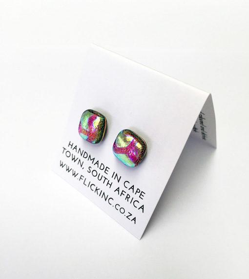 Dichroic Glass Earrings Pink Fun