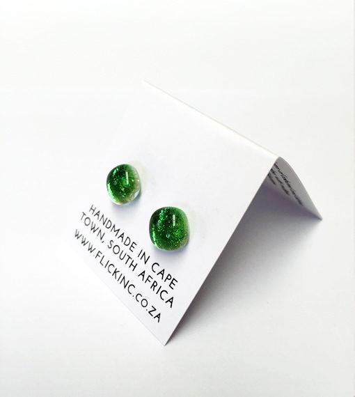 Dichroic Glass Earrings - Margarita Green