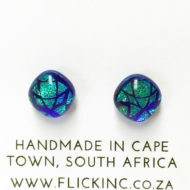 Dichroic Glass Earrings Peacock Blue