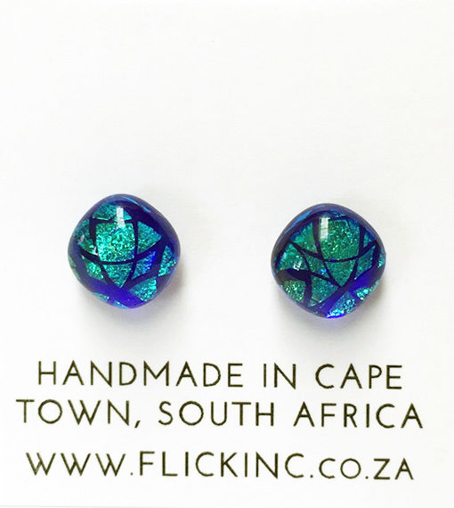 Dichroic Glass Earrings Peacock Blue