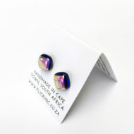 Dichroic Glass Earrings Pink Night Sky