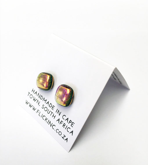 Dichroic Glass Earrings - Pink Sunset