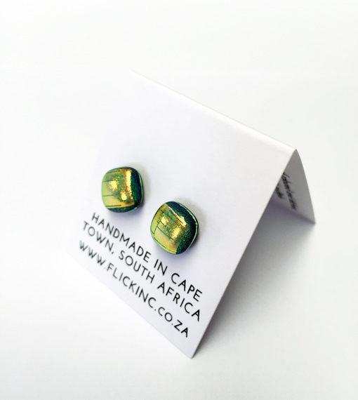 Dichroic Glass Earrinaffron Colourgs S