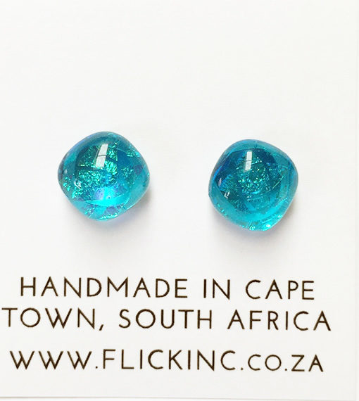 Dichroic Glass Earrings Blue