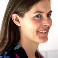 Dichroic Glass Earrings worn by model