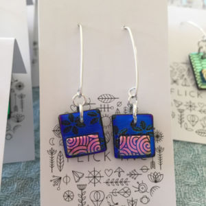 Dichroic Glass Earrings - A pair of Dangle Earrings