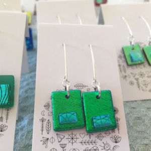 Dichroic Glass Earrings - Dangle Earrings (Greens)