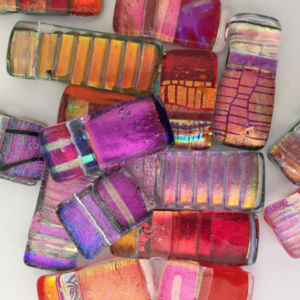 Dichroic Glass Pendants - Flick Glass (Red/Purple Range)