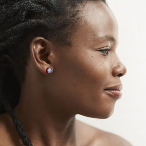 Dichroic Glass Stud Earrings - Model: Elinah Ngwenya